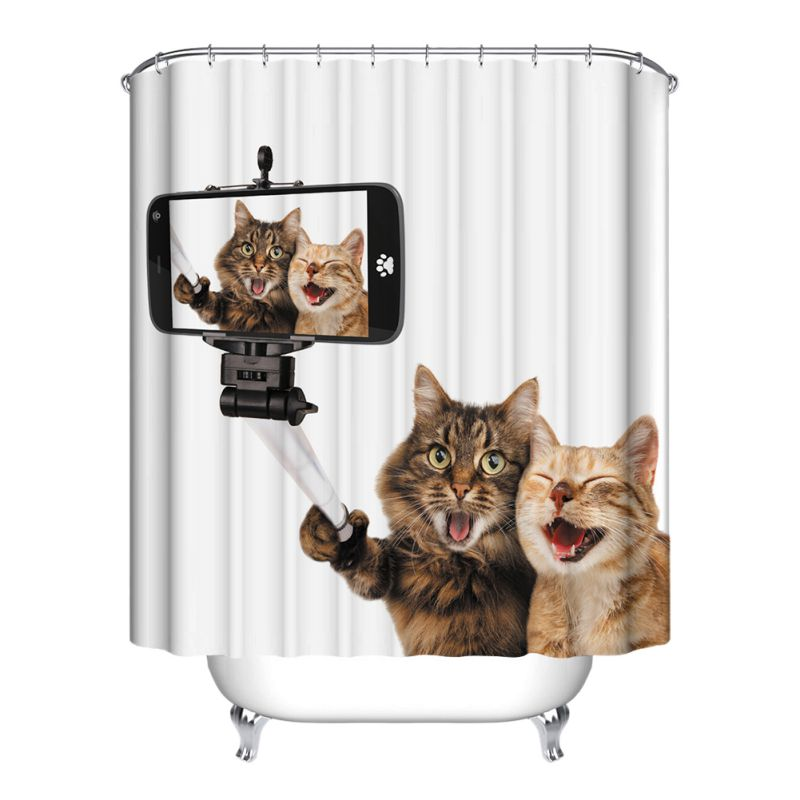 12 Hooks Cute Animal Bathroom Shower Curtain Waterfproof
