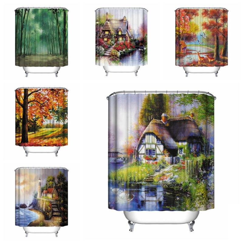 theme waterproof shower curtain with 12 hooks for bathroom home decor