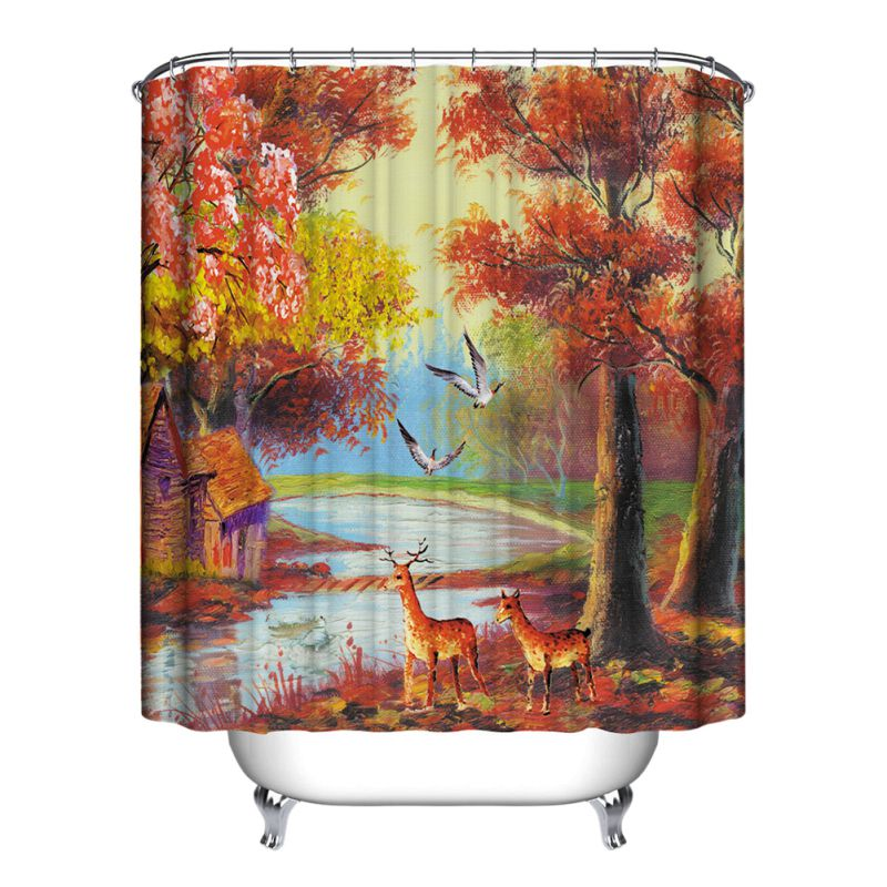 Nature Scenery Bathroom Shower Curtain Waterproof Polyester Home Decor 12 Hooks