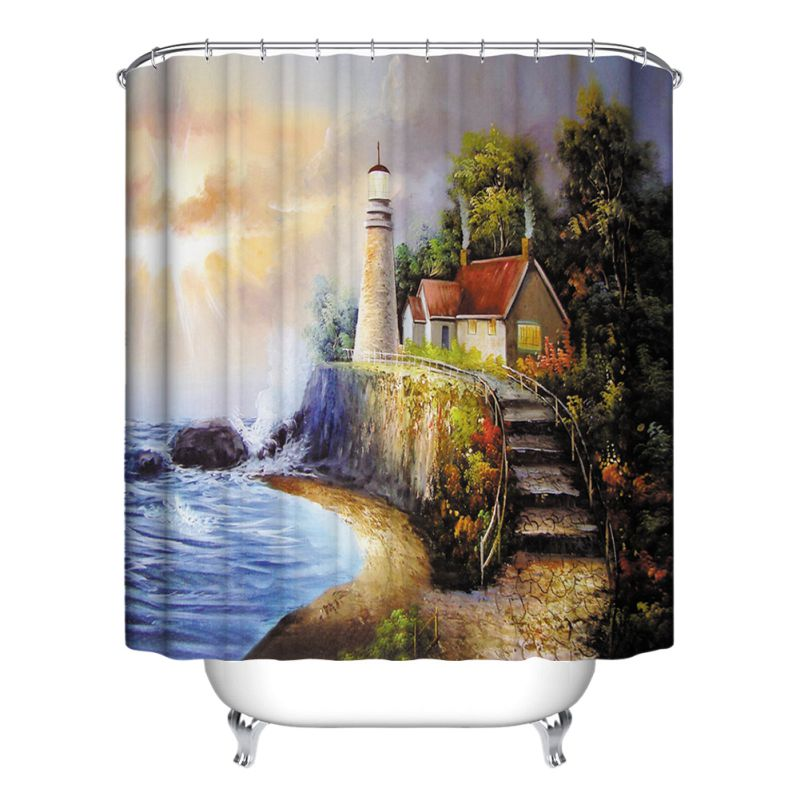 Nature scenery bathroom shower curtain waterproof for Bathroom decor nature