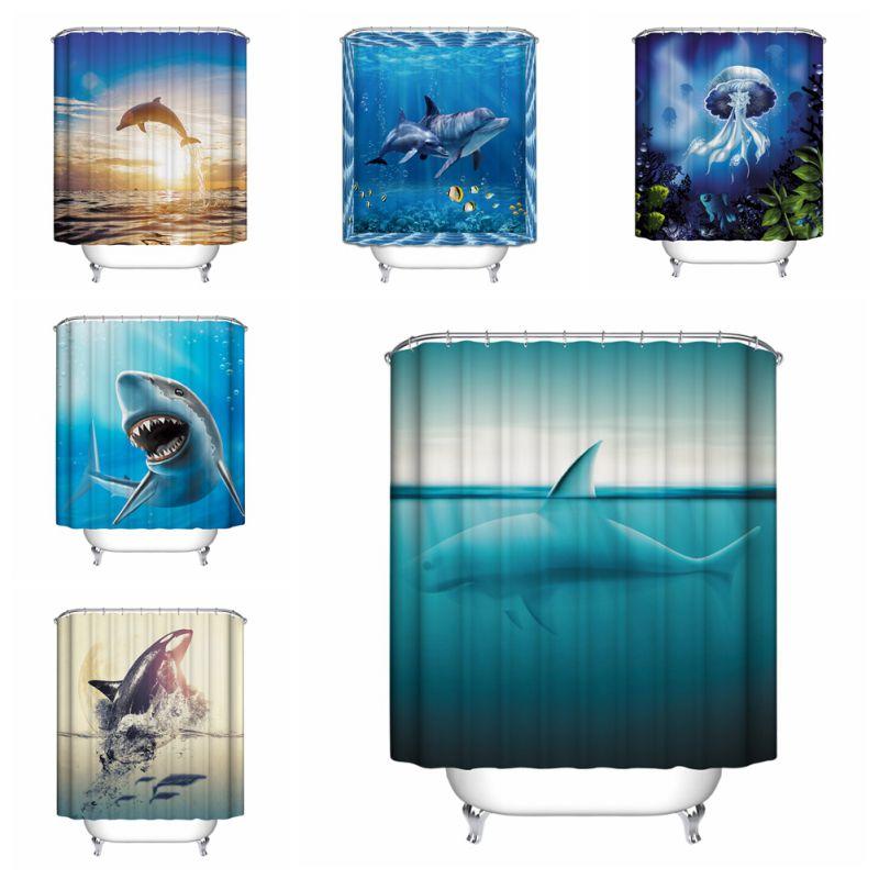 Ocean Decor Bathroom: Ocean Fish Theme Waterproof Shower Curtain With 12 Hooks