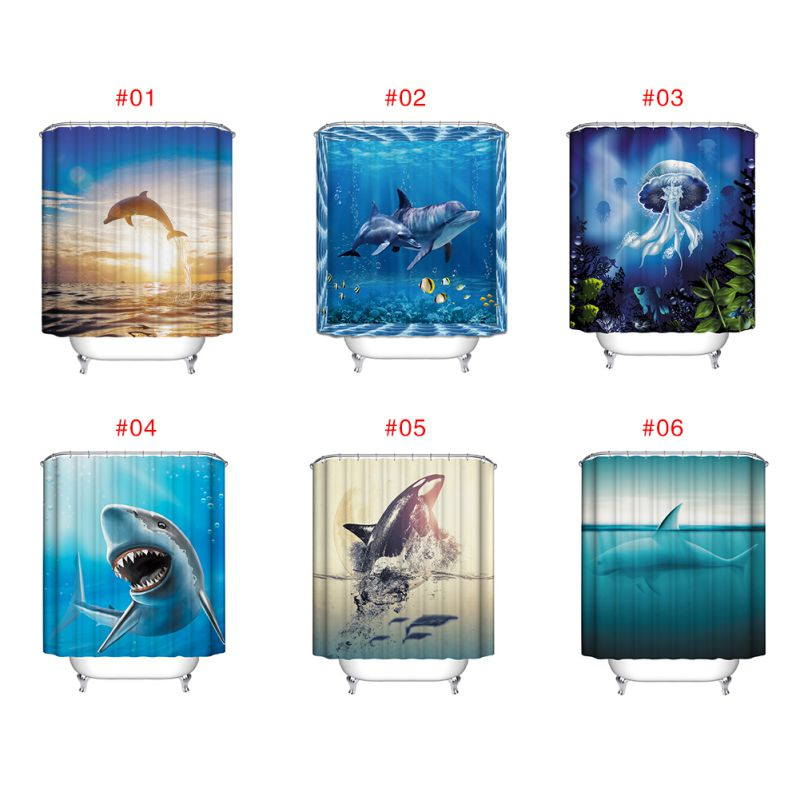 Ocean fish theme waterproof shower curtain with 12 hooks for Bathroom fish decor
