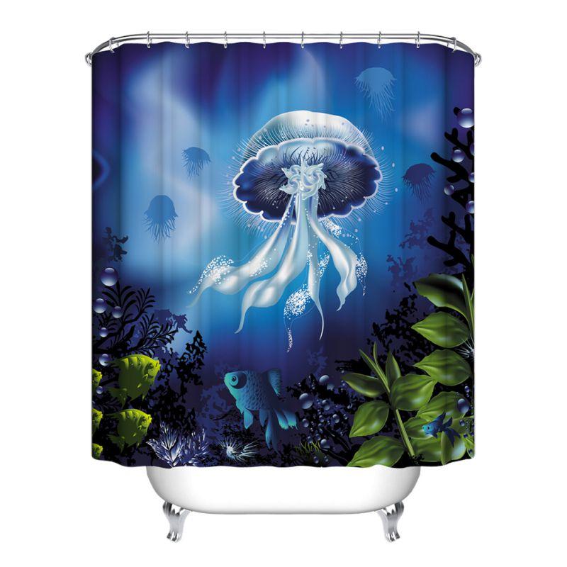 Ocean fish theme bathroom shower curtain home decor for Bathroom fish decor