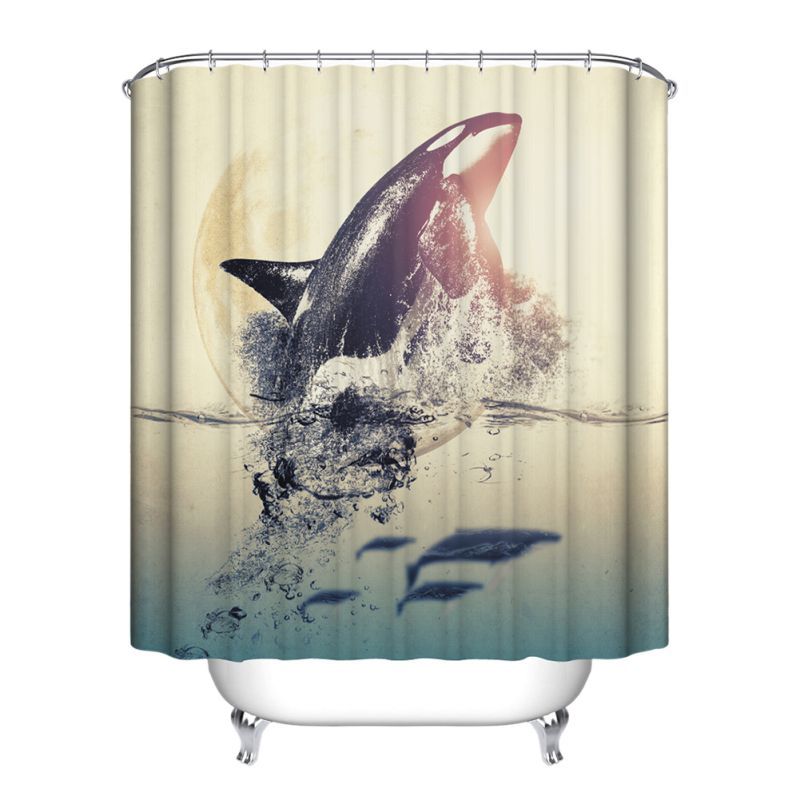 Ocean fish theme bathroom shower curtain home decor for Bathroom fish decor