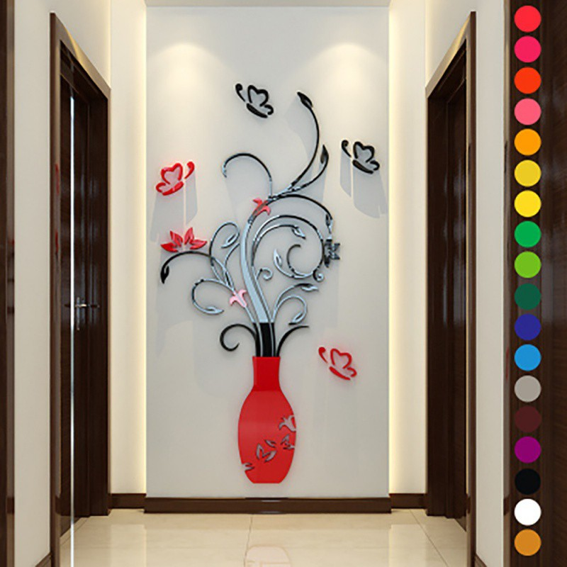 3d flower diy wall sticker decal art decor vinyl home for Door mural stickers