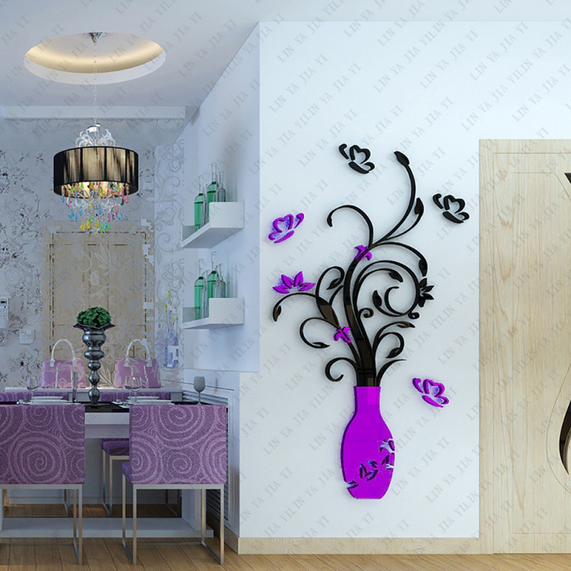 Au 3dflower removable acrylic quote diy wall sticker decal for Diy room decor quotes
