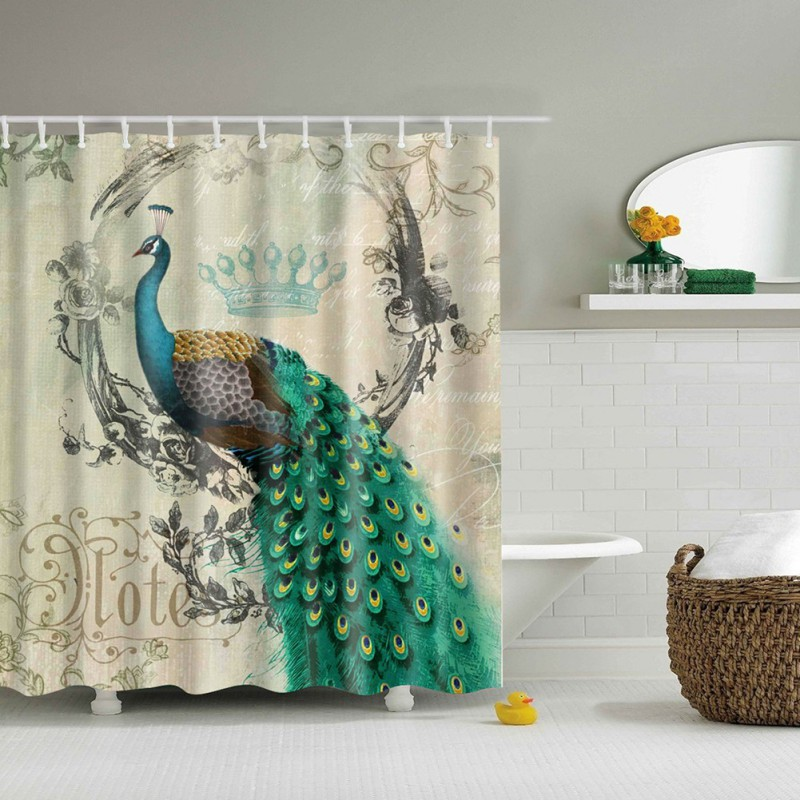Fabric waterproof animal bathroom shower curtain panel for Animal bathroom decor