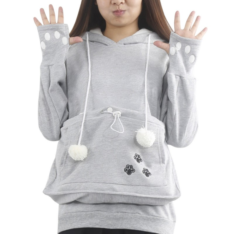 Fashion Women Cat Claw Hoodie Cuddle Pouch Pocket Pet Pullover Sweatshirt Jumper