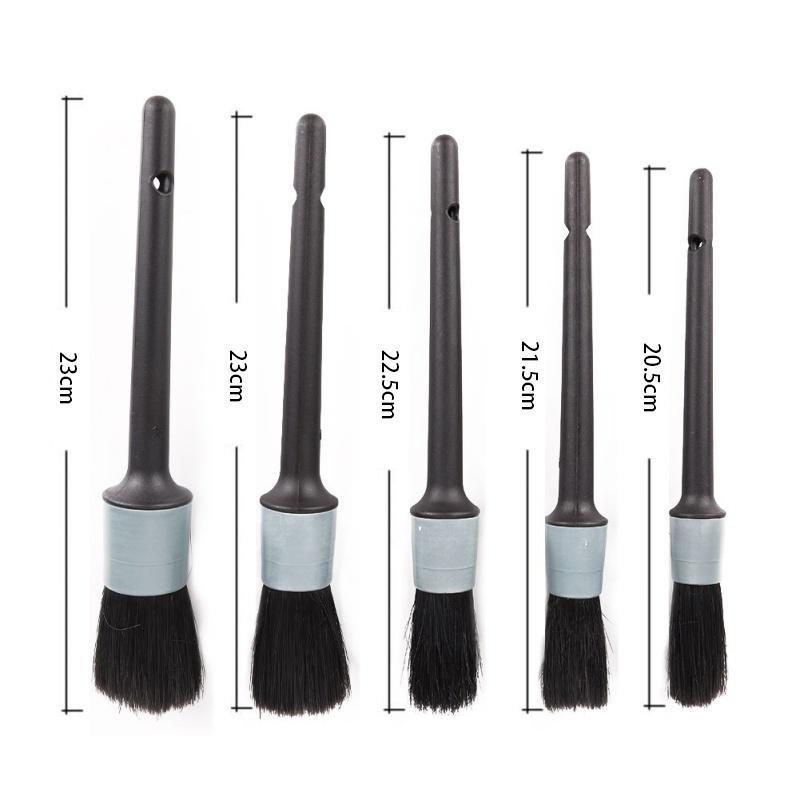 5 Sizes Car Detailing Brush Cleaning Natural Boar Hair