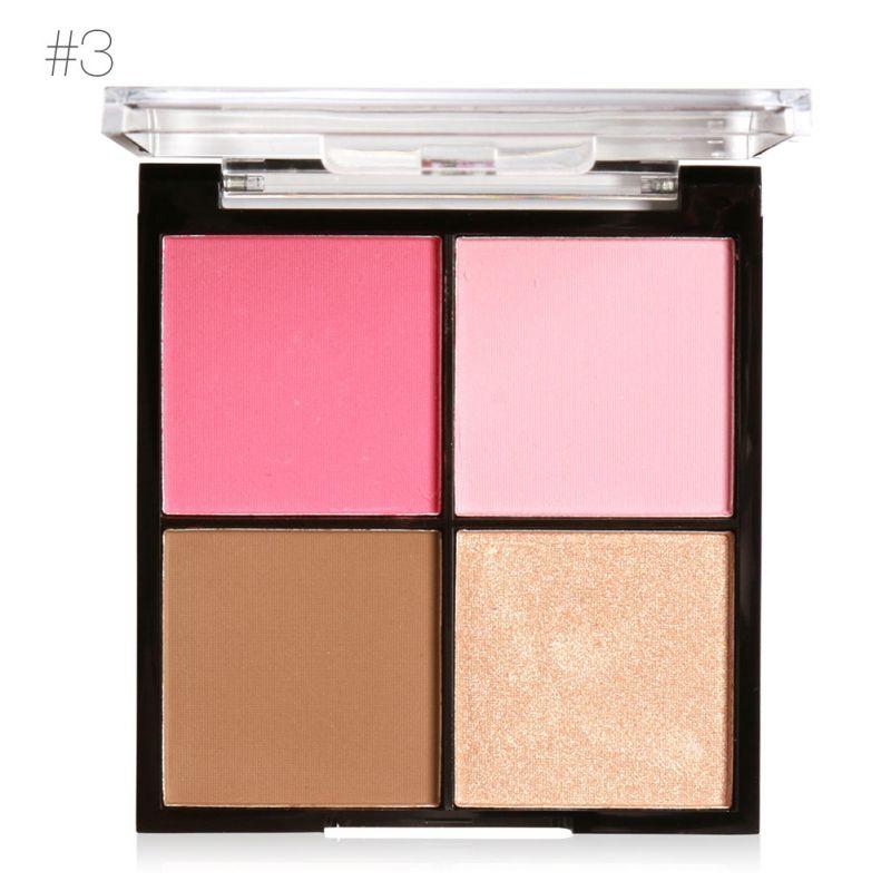 4 Colors Natural Blusher Powder Palette Face Contour Blush Cheek Beauty Makeup