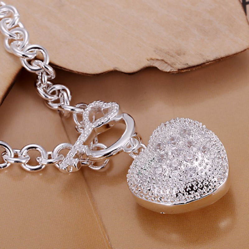 Bangle Bracelet With Charm: Women 925 Sterling Solid Silver Multi-Shaped Charm Bangle