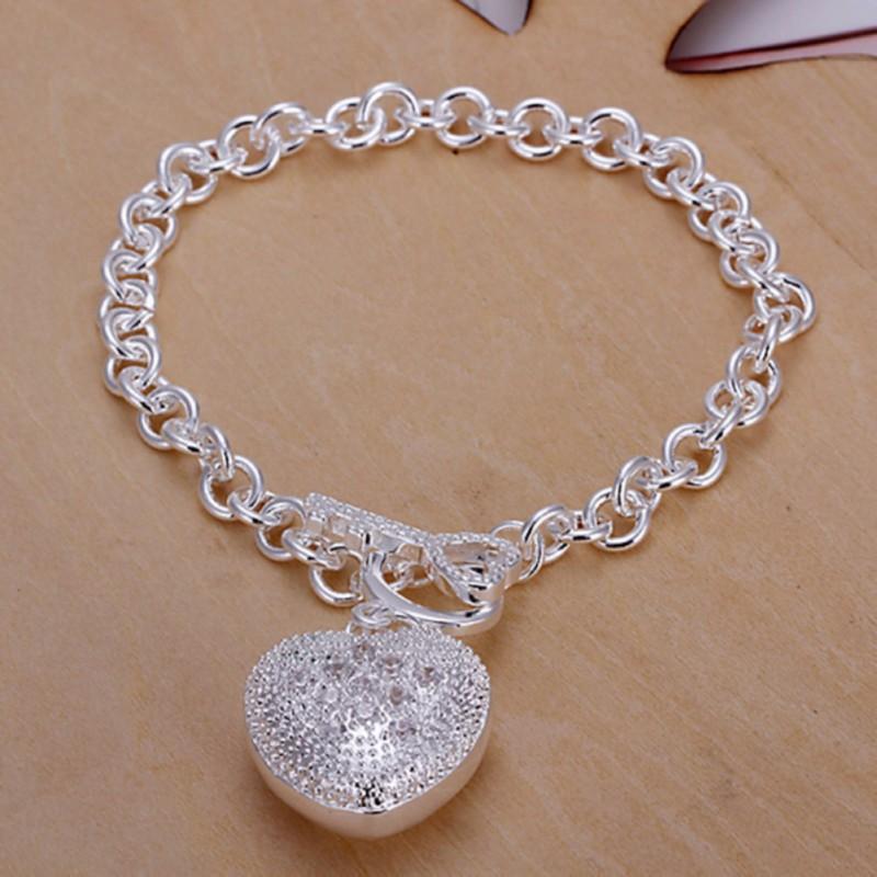 Women039s Bangle Bracelets: Fashion Women's Lady 925 Silver Charm Chain Bracelet