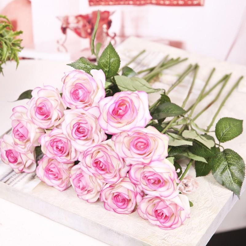 Artificial Silk Latex Rose Flowers Wedding Bridal