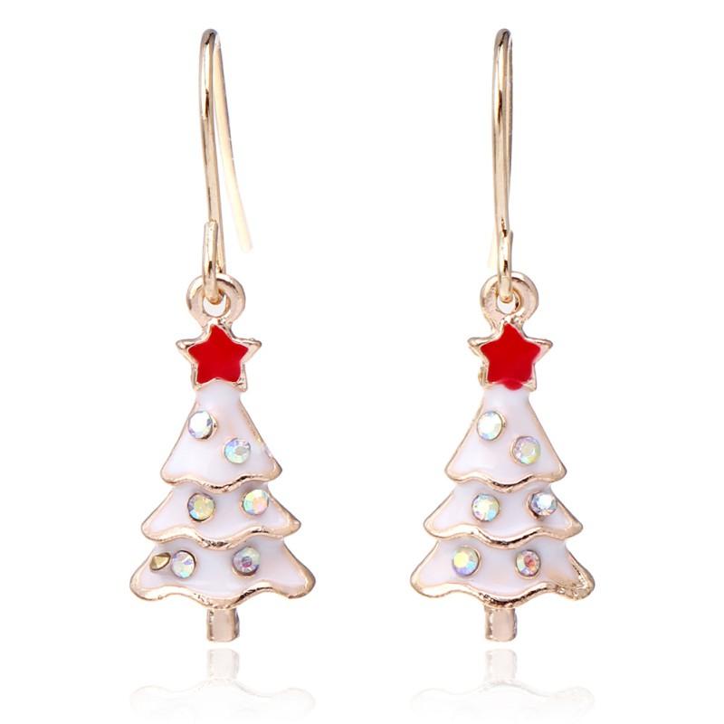 Women Christmas Earrings Gold Silver Hook Drop Drop Earring Xmas ...
