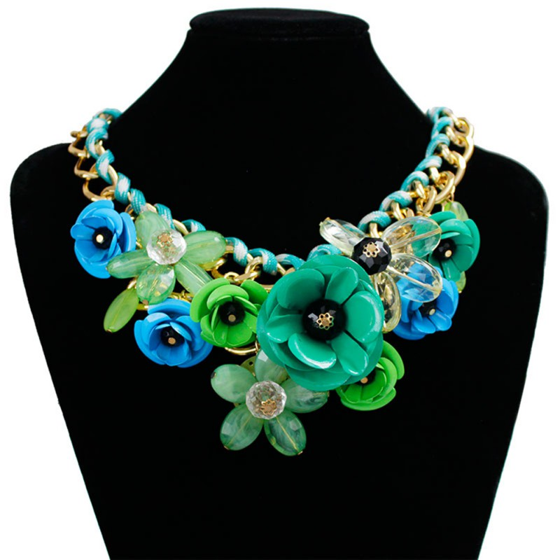 Fashion-Charm-Jewelry-Pendant-Chain-Crystal-Choker-Chunky-Statement-bib-Necklace