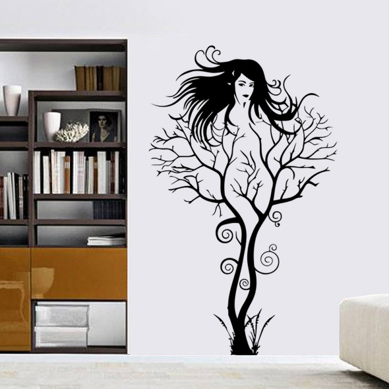 Bubbles tree girl removable wall sticker art vinyl decal for Diy tree wall mural