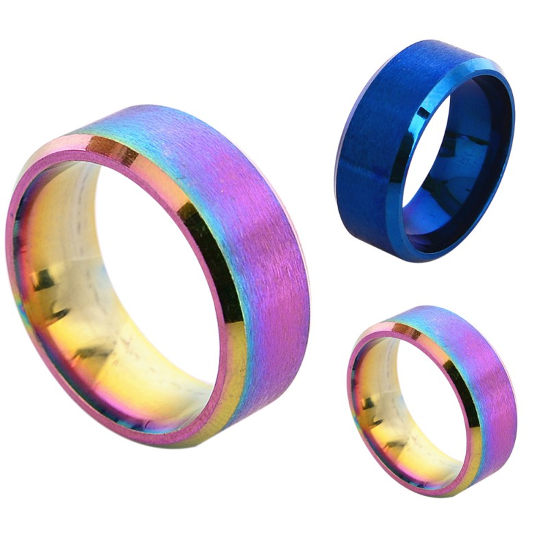 Details about Mens Womens Rainbow Color 8mm Stainless Steel Ring Band Wedding Ring Size 5-14""