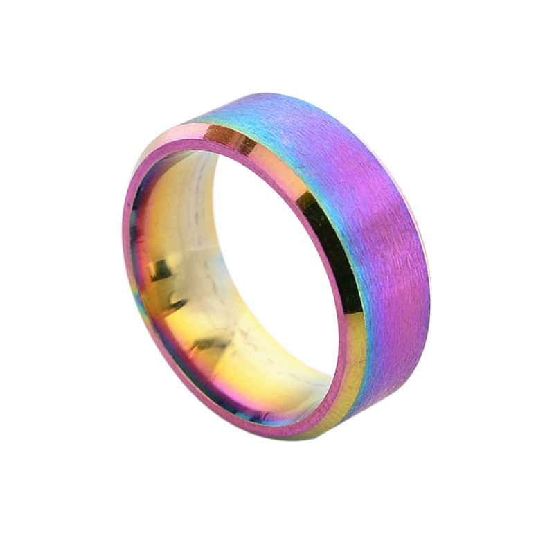 Rainbow Wedding Rings: Men Women Rainbow Color 8mm Stainless Steel Ring Band