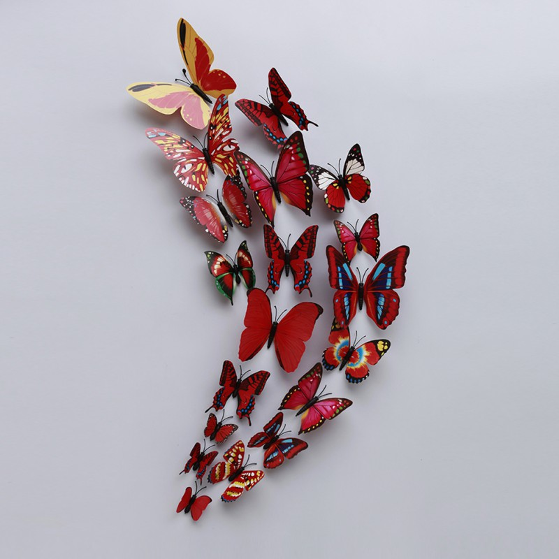 12pcs set 3d butterfly wall stickers decal art craft design home kids room decor. Black Bedroom Furniture Sets. Home Design Ideas