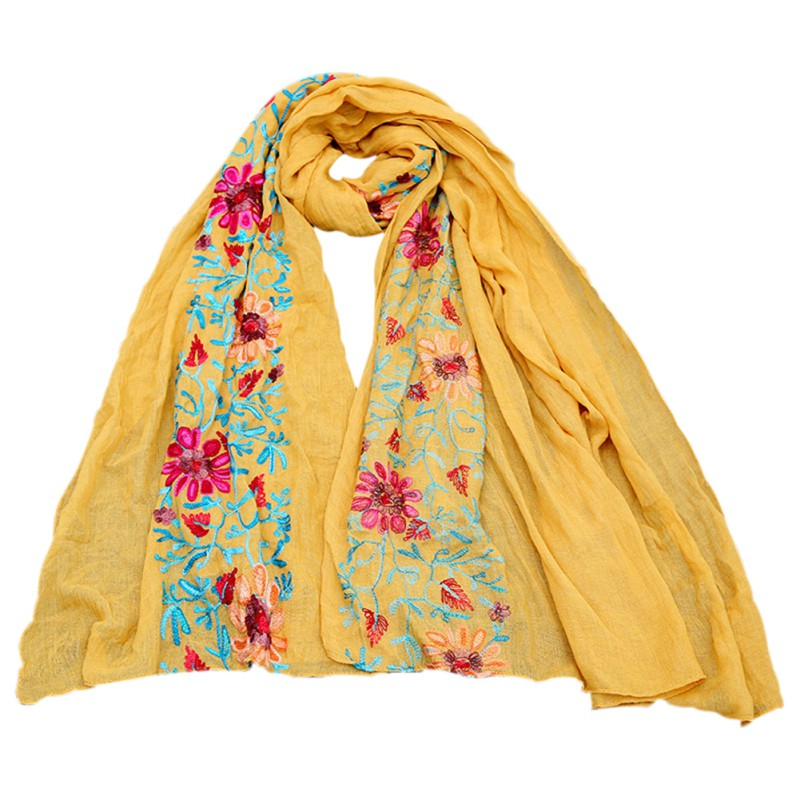 women s large embroidered cotton linen floral scarf