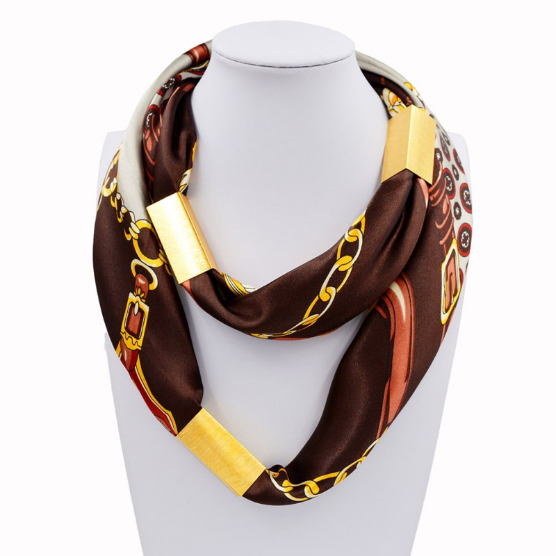 Women Fashion Silk Necklace Long Scarf Necklace Gold