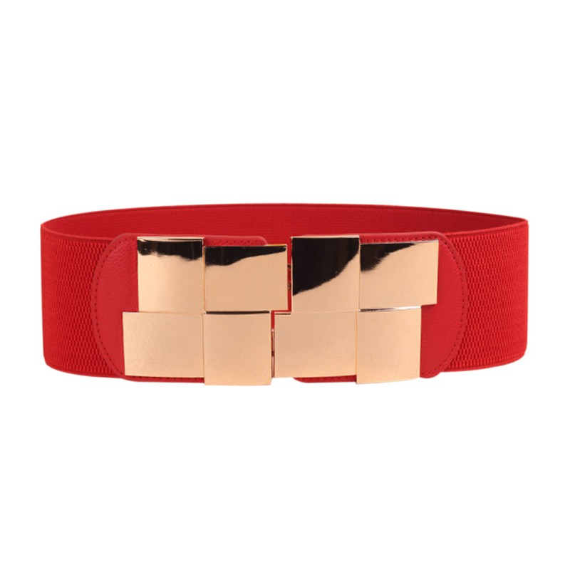 buckle pu waist belt elastic waistband wide