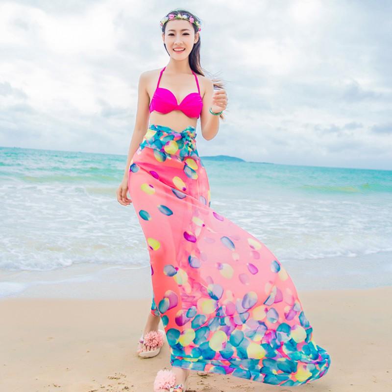 Summer Fashion Ladies Beach Shawl Scarf Chiffon Bikini ...