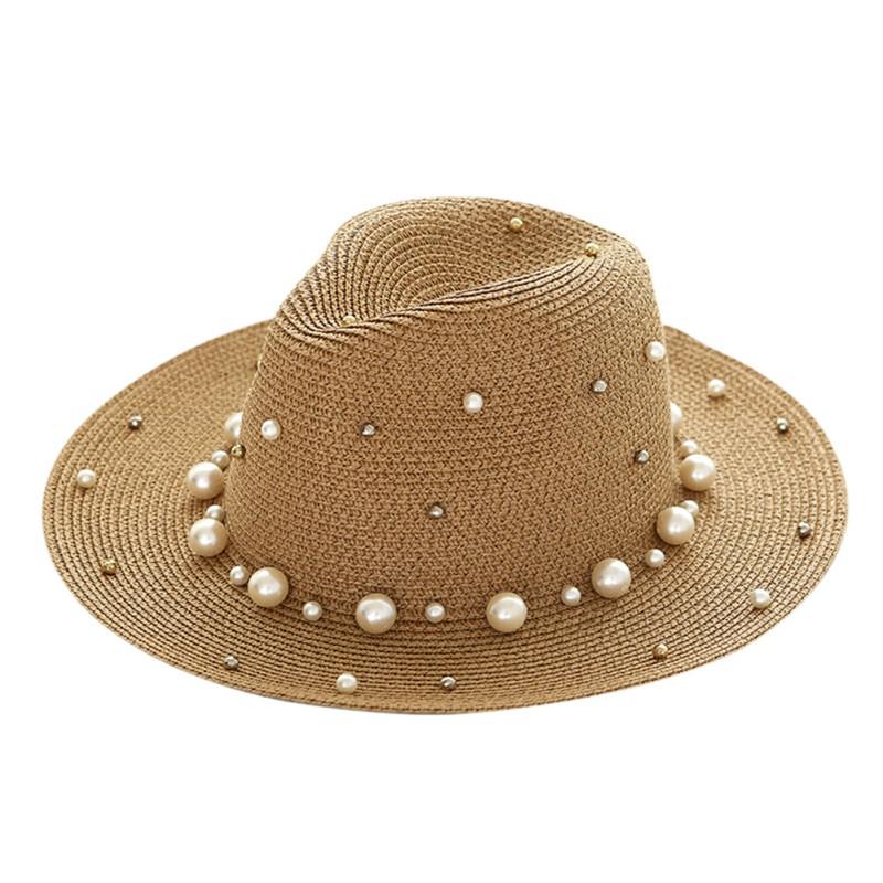 uk summer sun beaded straw hat with flat brim trilby