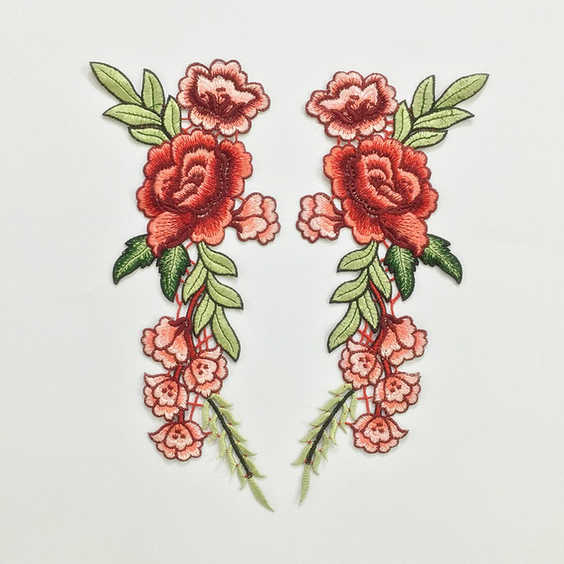 Blossom rose flower applique clothing embroidery patch