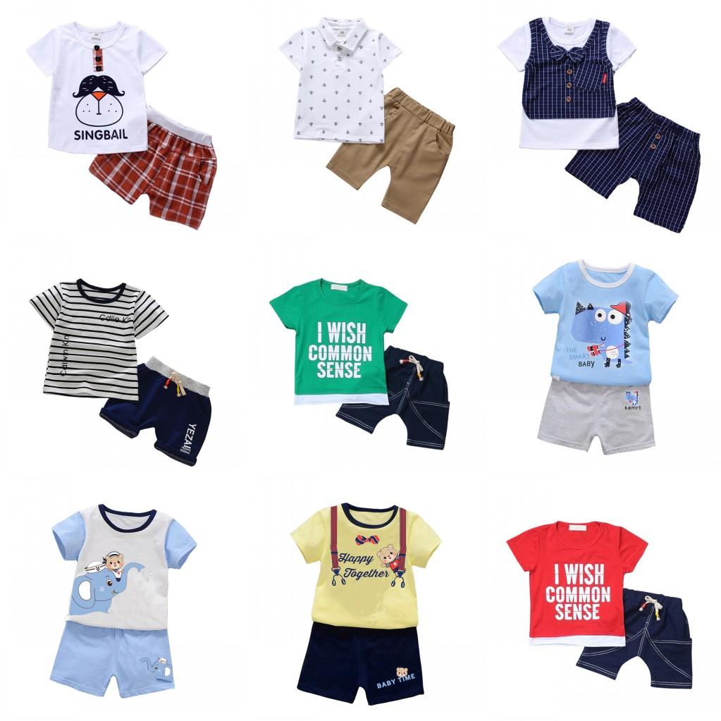 09904e0c4c1a Kids Baby Boy Toddler Summer Clothes Set Short Sleeve Tops + Short ...