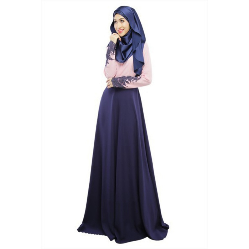 Frauen Muslim Cocktail Langarm Maxi Kleid Kaftan Abaya Jilbab ...