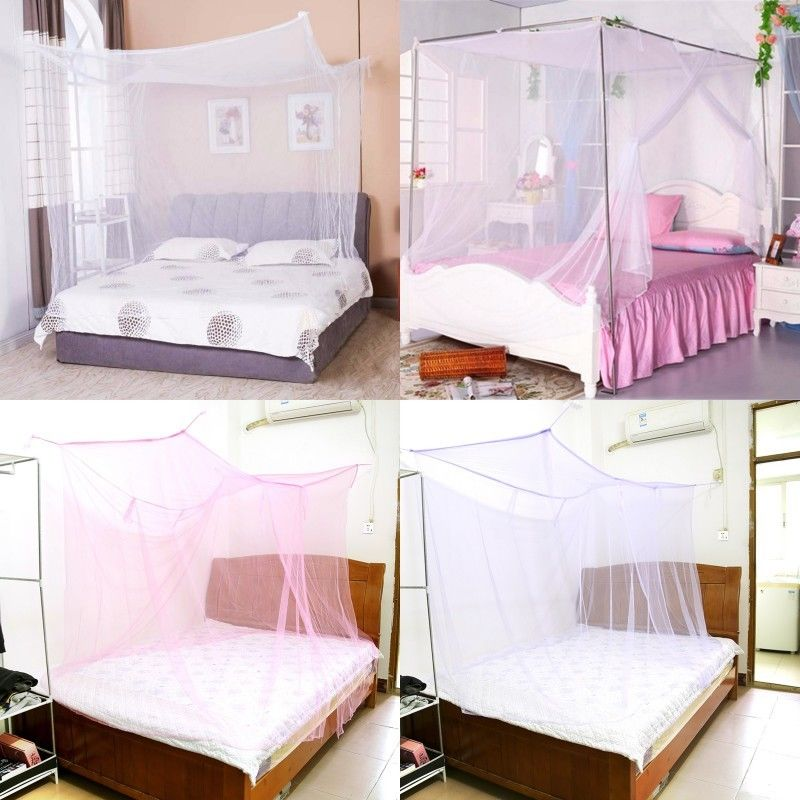 Mosquito Net 4 Corner Post Bed Canopy Single Double King Siz