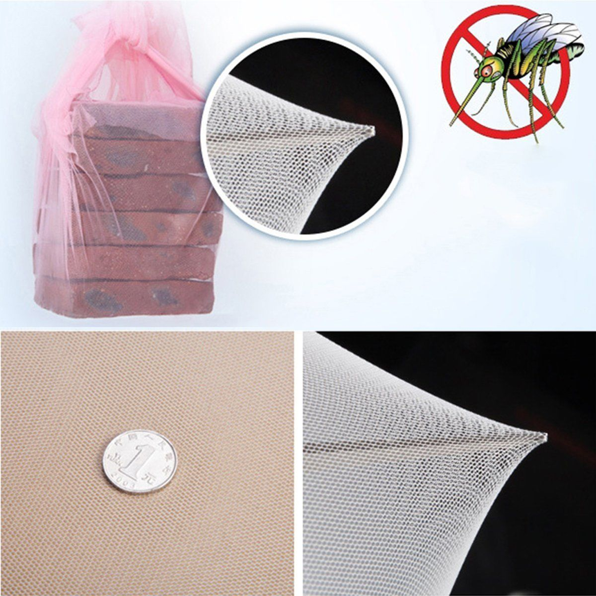 Mosquito-Net-Double-Queen-King-Size-Box-Fly-Insect-Bug-Protection-Netting-US thumbnail 2