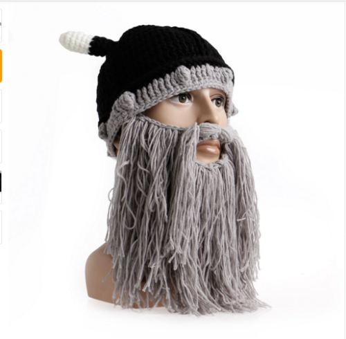 901d3f46ab0 Fashion Viking Beanie- Beard Ski Cap With Horns Winter Handmade Hat ...