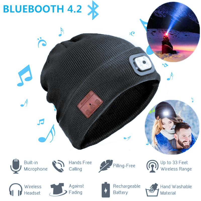 Wireless Bluetooth Strickmütze Kappe eingebautem 4.2 Headset mit 5 LED Licht Neu