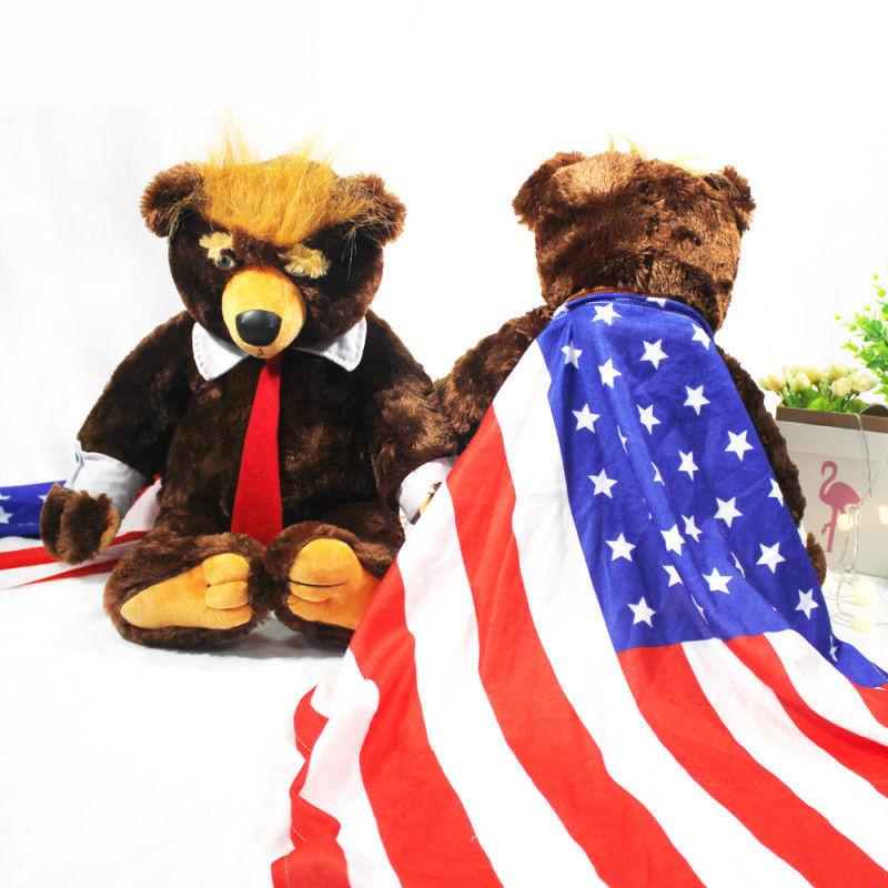 DE 60cm Trumpy Bear Donald Trump Plush Toy Doll Gift American Flag USA President  | New Products