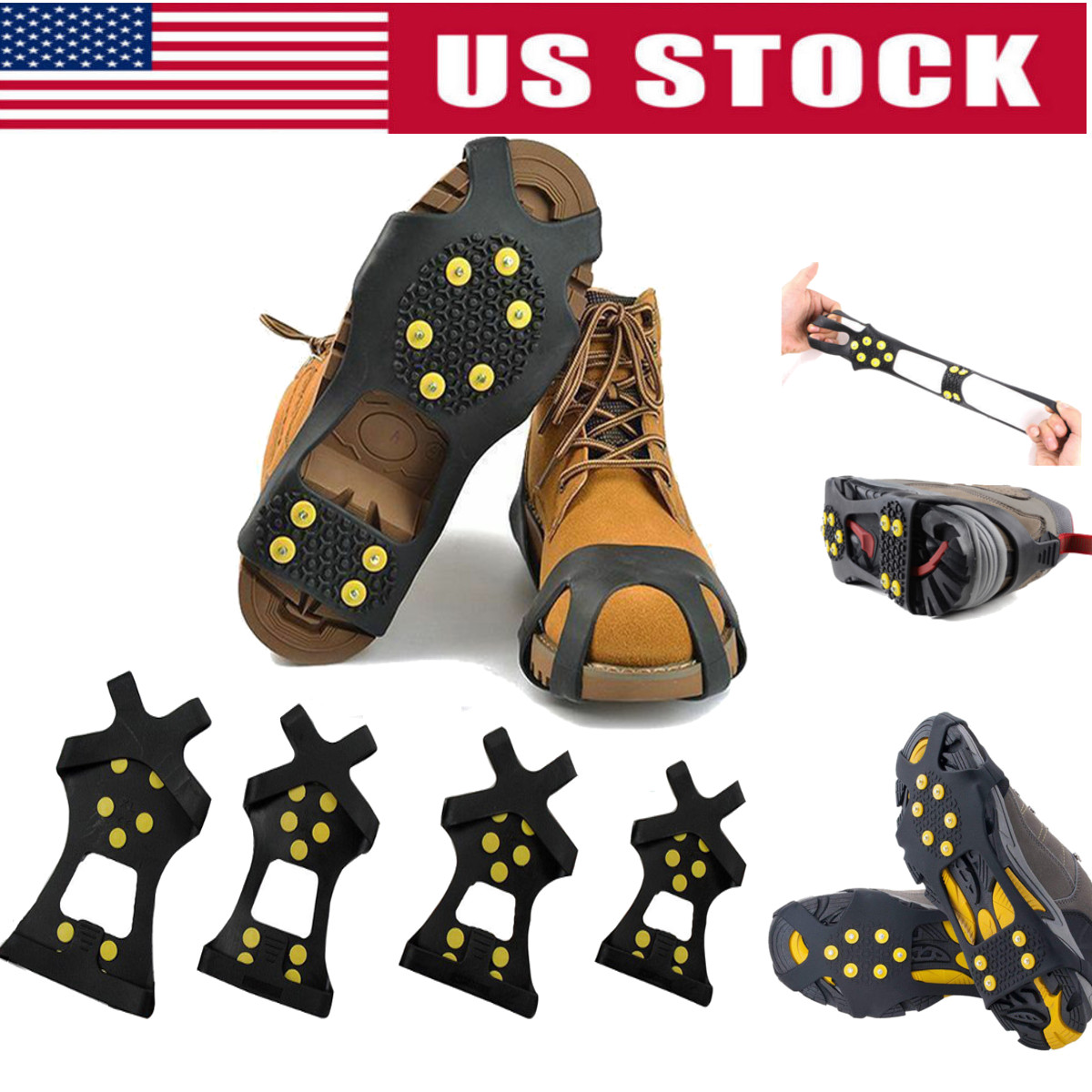 a082c7c528439c Winter Ice Snow Anti Slip Spike-s Grips Crampon Cleats For Shoes ...