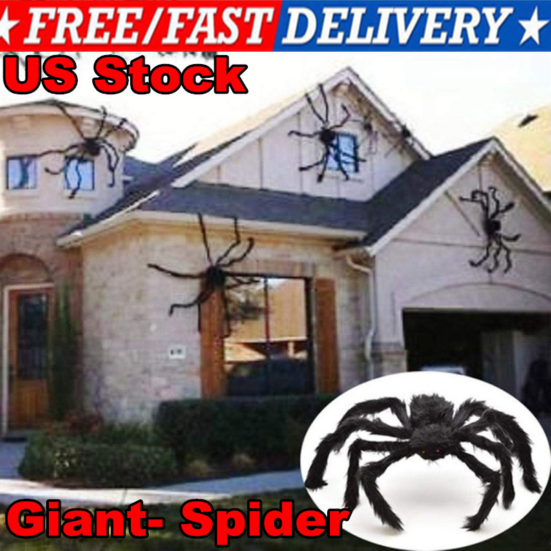 75CM Big Giant- Spider Halloween Haunted House Props Home Outdoor Party Decor US