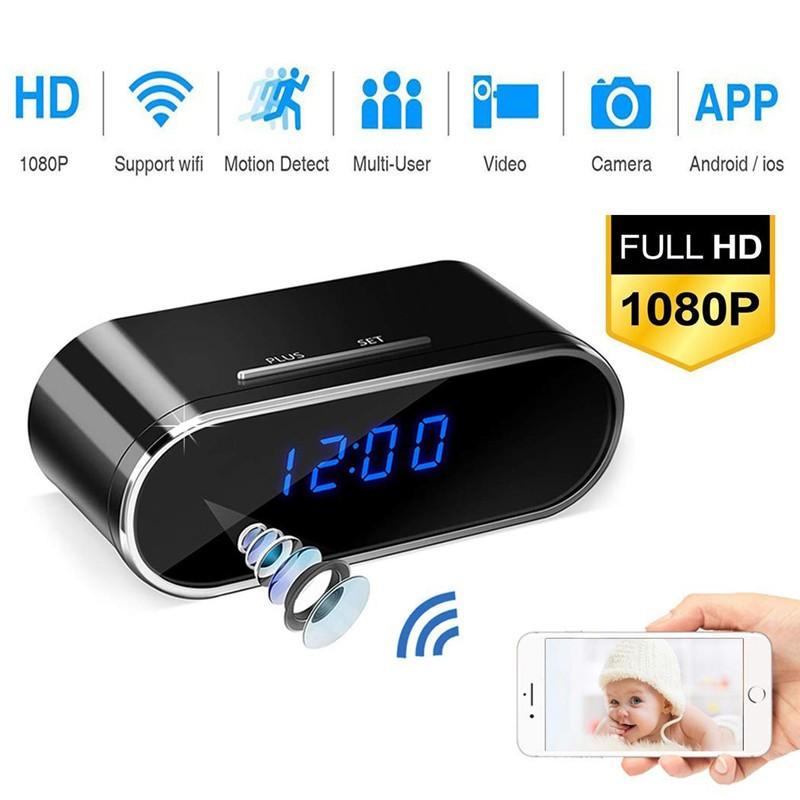 1080P Alarm Clock HD Camera WiFi Wireless Baby Monitor Night