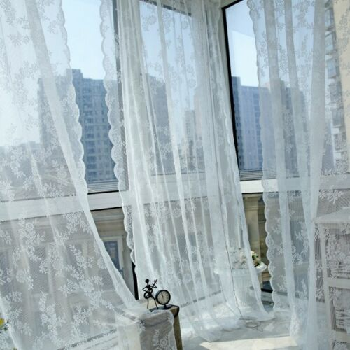 Chic Lace Window Curtains Drape Sheer Tulle Valances Balcony