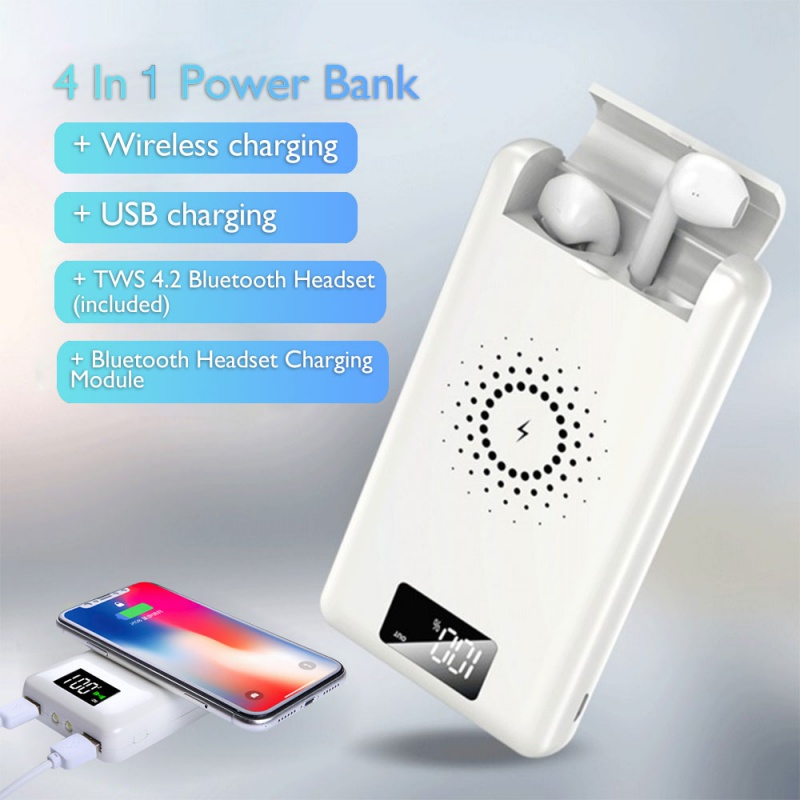 4 In1 Qi Wireless Charger Power Bank 2 USB LED TWS 4.2 Bluet