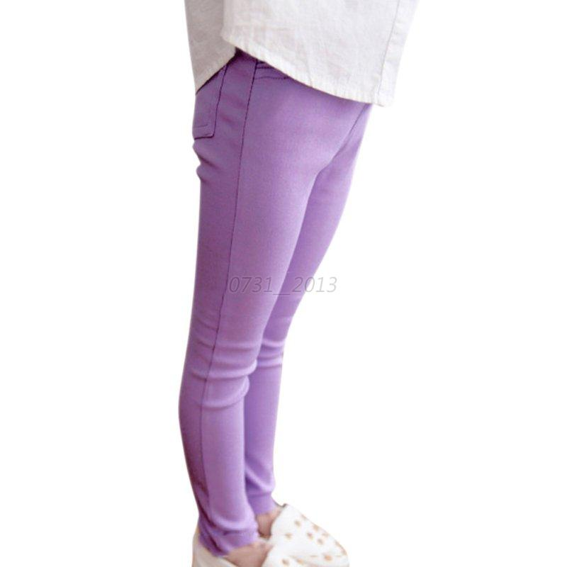 Child Girls Stretch Skinny Pants Candy Color Casual Trousers Elastic Waist 4-10Y