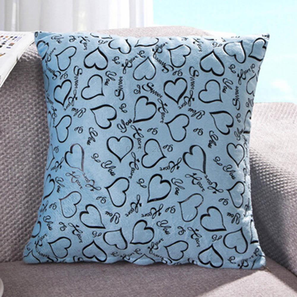 Cute Heart Cushion Case Square Soft Throw Pillow Cover Home Decor for Sofa Bed