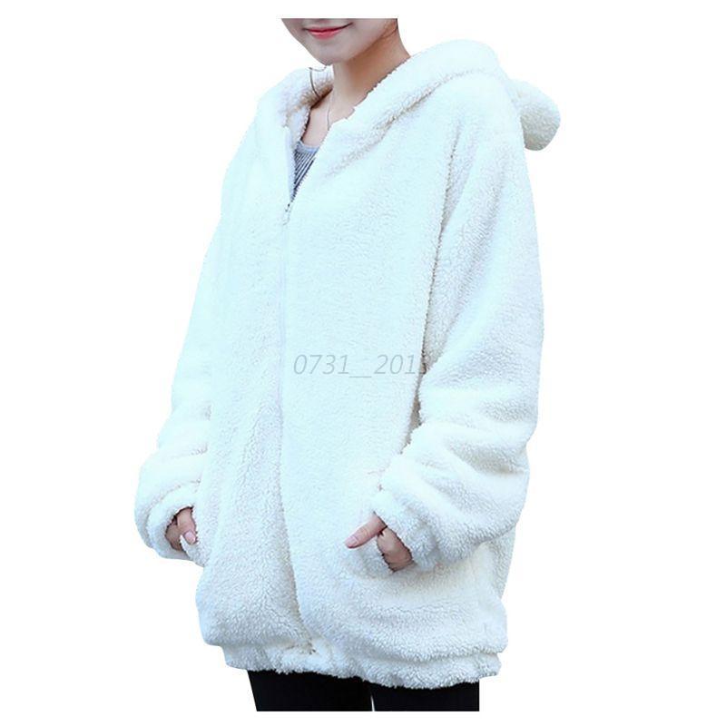 women korea bear ear hoodie hooded jacket loose coat tops. Black Bedroom Furniture Sets. Home Design Ideas