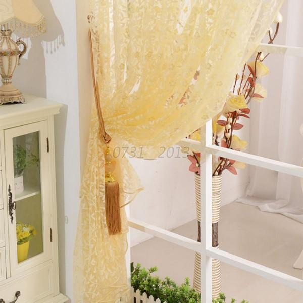 Hot home decor sheer lace voile drape door window room for Lace home decor