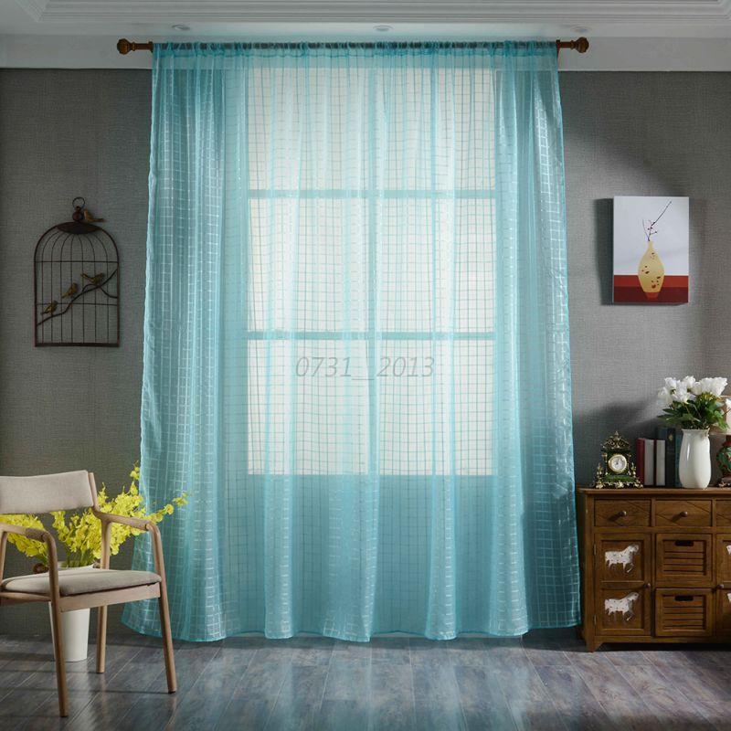 Gradient Color Curtain Sheer Voile Window Drape