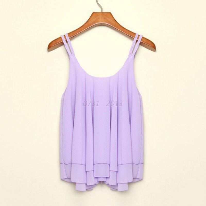 Vogue Summer Women Shirt Sleeveless Chiffon Blouse Loose Casual Tanks Tops Vest