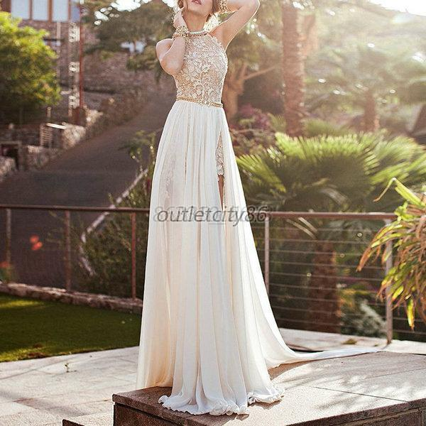 Elegant-Women-Lace-Chiffon-Dress-Wedding-Evening-Party-Gown-Prom-Long-Dresses-AU