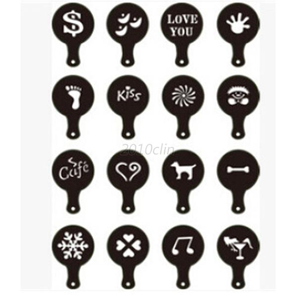16pcs Lot Cappuccino Coffee Latte Art Stencil Diy