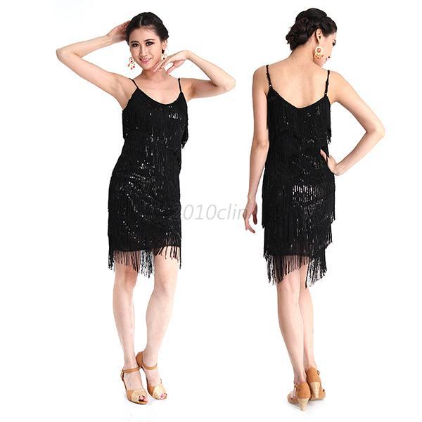 Latin-Salsa-Tango-Dance-Dress-Ballroom-Sleeveless-Tassel-Sequins-Dress-Dancewear